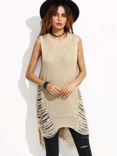 Apricot Ripped High Low Sleeveless Sweater