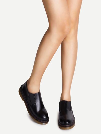 Chaussures à semelle compensé en cuir PU bout rond - noir