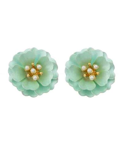 Blue Enamel Pearl Flower Stud Earrings