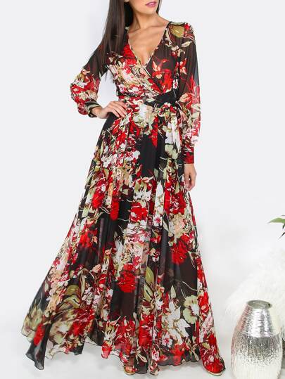 Black Floral Print Cuff Sleeve Surplice Wrap Dress