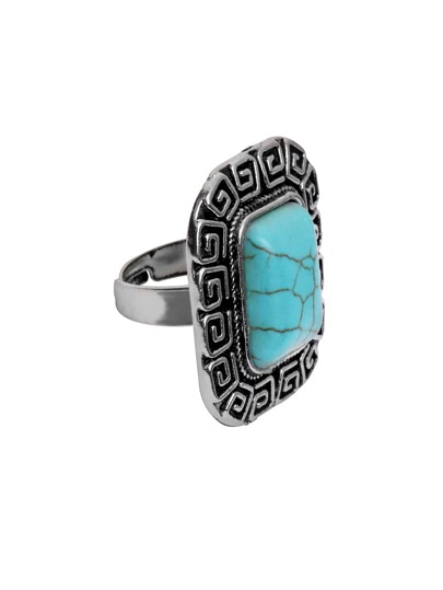 Antique Silver Turquoise Encrusted Geometric Shaped Ring