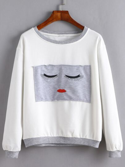 White Contrast Trim Embroidered Patch Sweatshirt