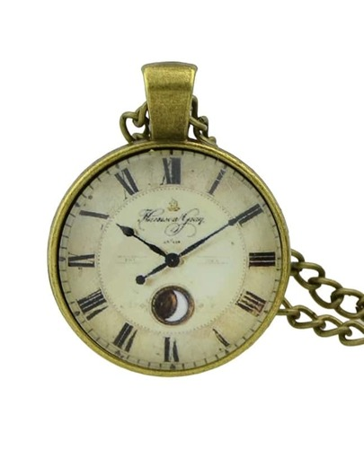 Beige Pocket Watch Pendant Necklace