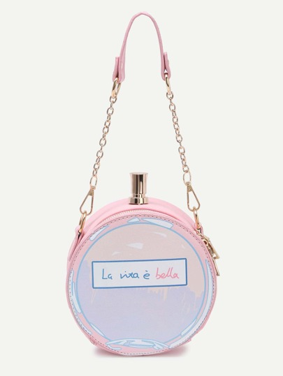 Pink Letter Print Round Crossbody Bag With Chain Strap