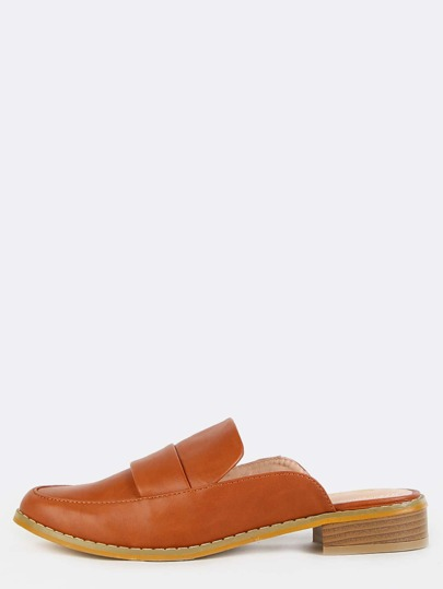 Almond Toe Loafer Mules TAN