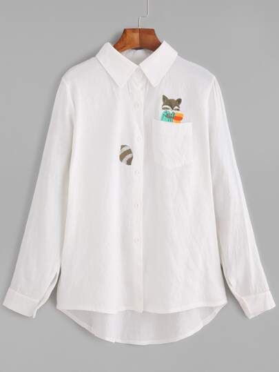 White Sciuridae Embroidered Pocket Dip Hem Shirt