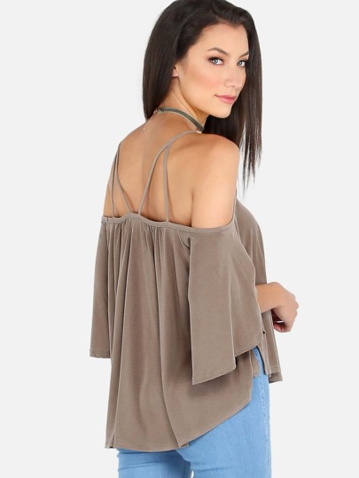 Circle Flow Cold Shoulder Cami Top OLIVE