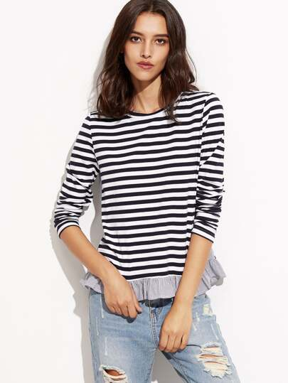 Contrast Striped Ruffle Trim T-shirt