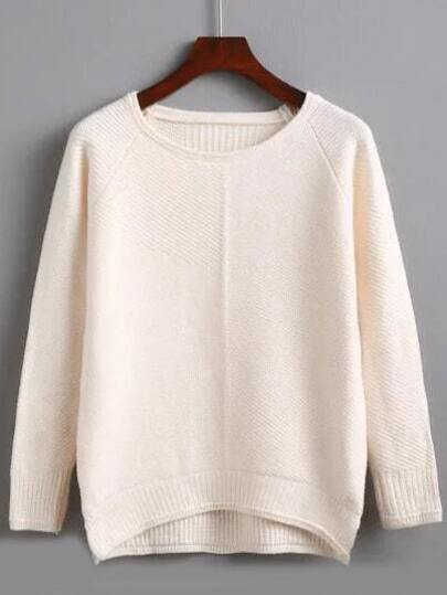 Beige Raglan Sleeve Dip Hem Split Sweater
