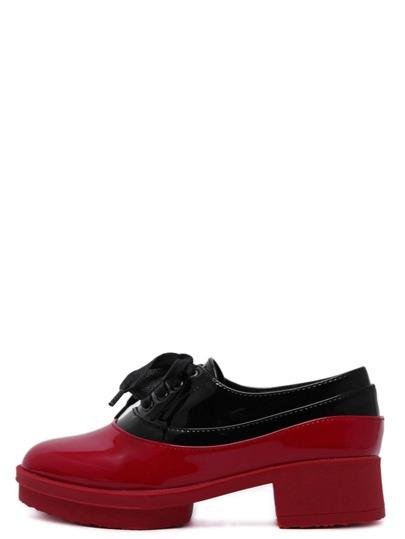 Flache Schuhe Schnür mit Blockabsatzen - kontrastfarbig