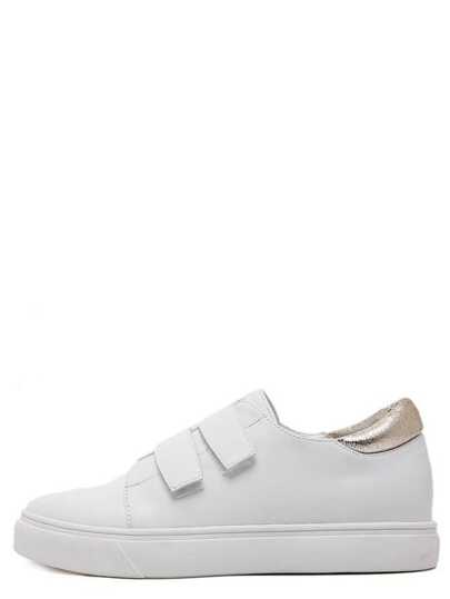 White Leather Velcro Flatform Sneakers