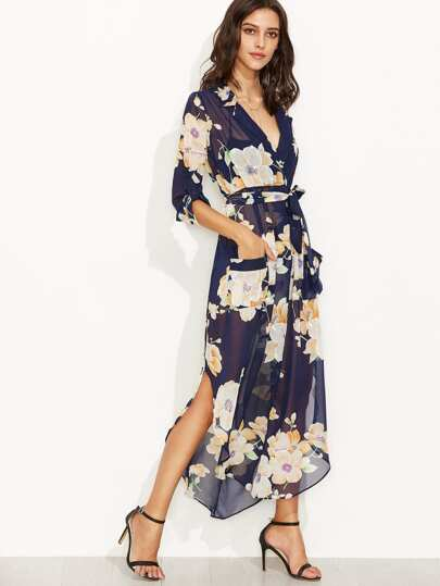 Floral Print Self Tie Surplice Wrap Sheer Dress
