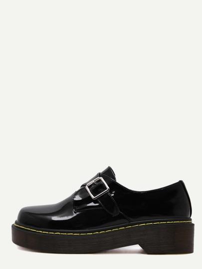 Schuhe Lackleder mit Schnalle - schwarz