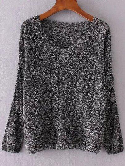 Black V Neck Loose Textured Sweater
