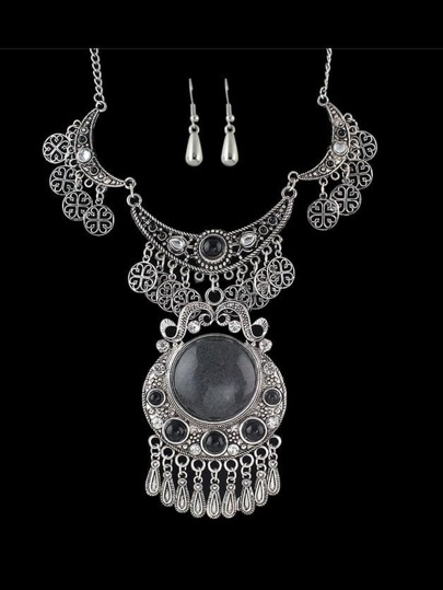 Antique Silver Tibetan Wedding Jewelry Imitation Gemstone Statement Jewelry Set For Women