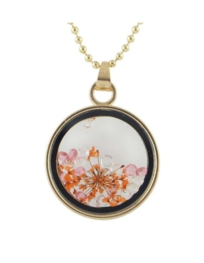Orange Flower Shape Round Pendant Necklace