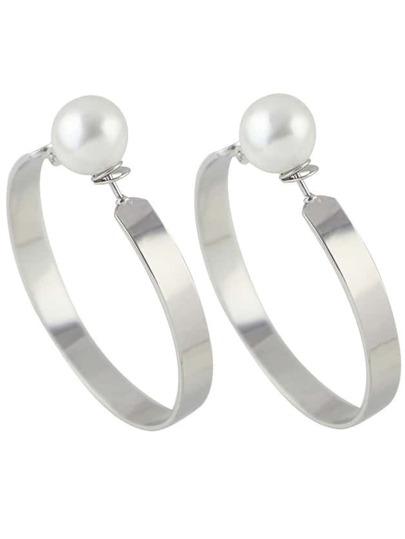 Silver New Imitation Pearl Big Hoop Earrings For Women