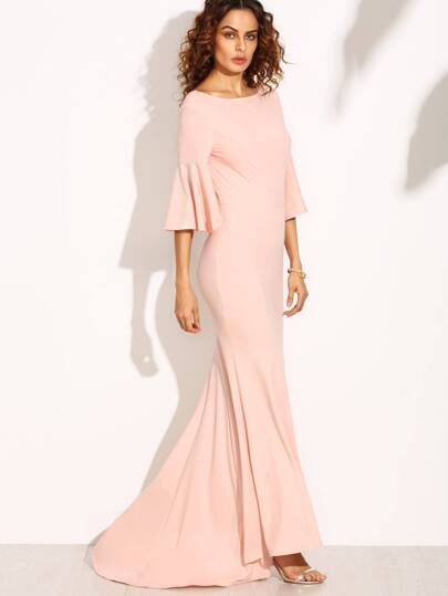 Pink V Back Bell Sleeve Fishtail Dress