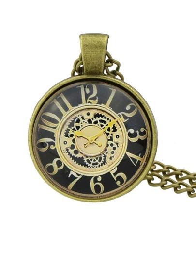 Black Pocket Watch Pendant Necklace
