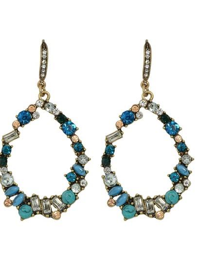 Colorful Rhinestone Long Fashion Drop Earrings