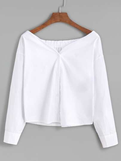 Boat Neck Button Front Blouse