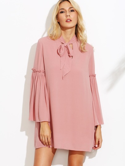 Pink Tie Neck Frill Bell Sleeve Tunic Dress