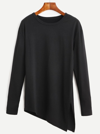 Black Asymmetrical Slit Side Long Sleeve T-shirt