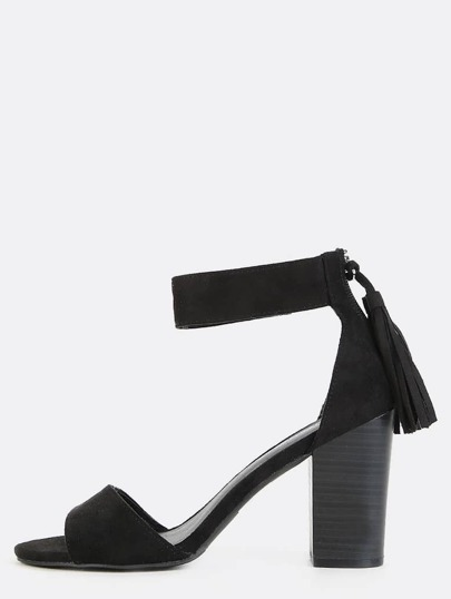 Open Toe Tassel Block Heels BLACK