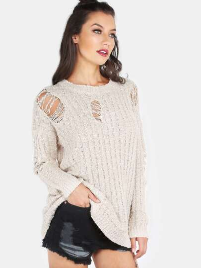 Distressed Knitted Sweater BEIGE