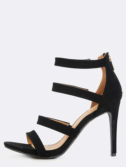 Four Strap Stiletto Heels BLACK