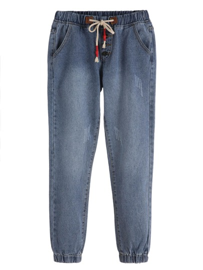 Blue Drawstring Waist Button Trim Jeans