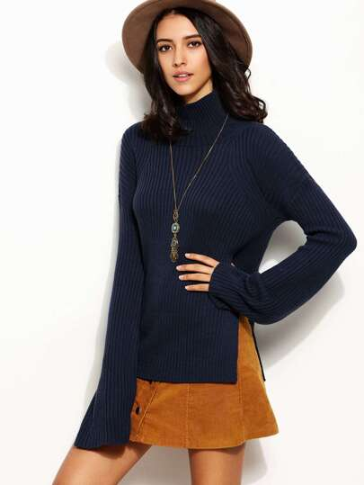 Navy High Neck Long Sleeve Split Side Sweater