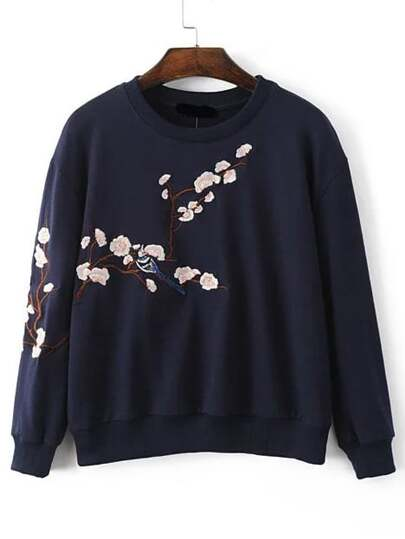 Plum Blossom Embroidered Drop Shoulder Sweatshirt
