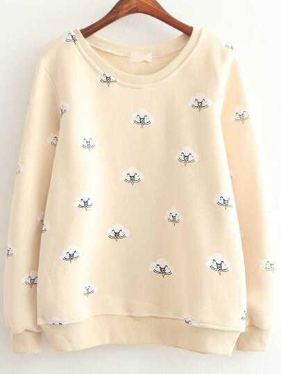 Beige Cloud Print Long Sleeve Sweatshirts