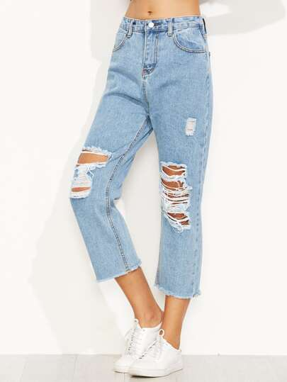 Blue Distressed Ripped Raw Hem Jeans