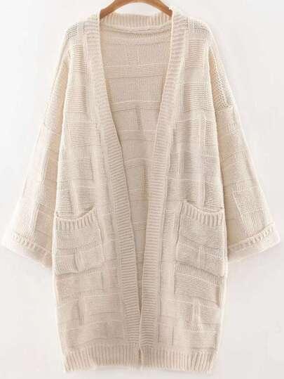 Beige Collarless Drop Shoulder Pocket Long Textured Cardigan