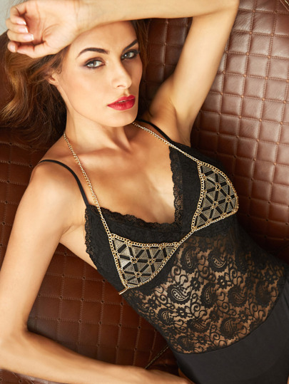 Gold Triangle Hollow Out Bra Chest Chain
