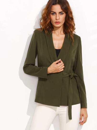 Olive Green Shawl Collar Wrap Blazer