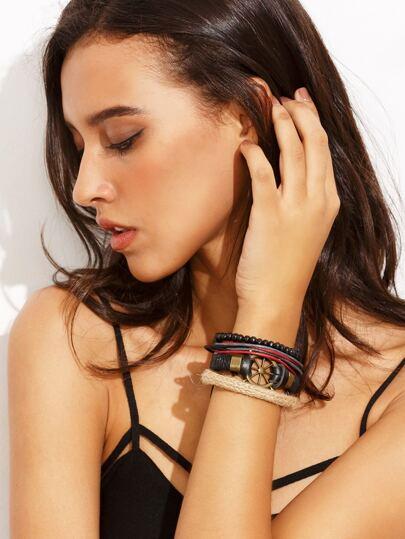 Bracelet multi-rangs avec gouvernail bronzé
