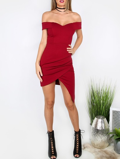 Red Sweetheart Off The Shoulder Asymmetrical Bodycon Dress