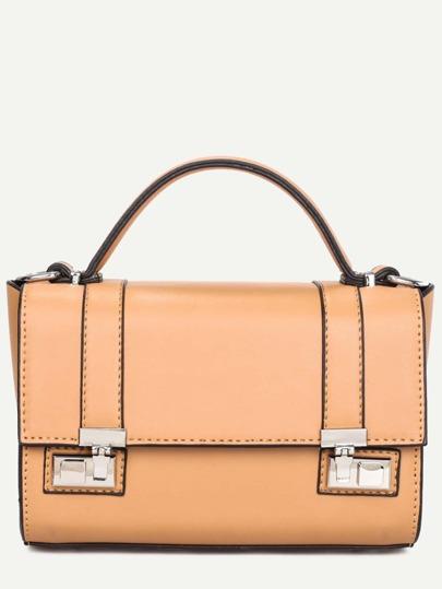 Apricot Dual Pushlock Satchel Bag