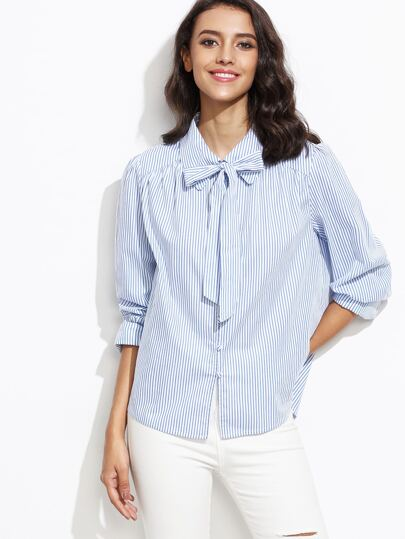 Blue Vertical Striped Tie Neck Wide Cuff Blouse