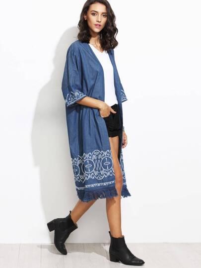 Blue Fringe Trim Embroidered Longline Chambray Kimono