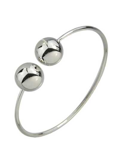 Silver Simple Model Double Metal Ball Thin Bracelet
