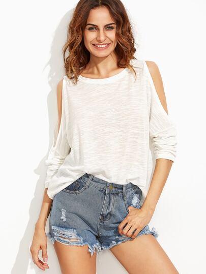 White Open Shoulder Slub T-shirt