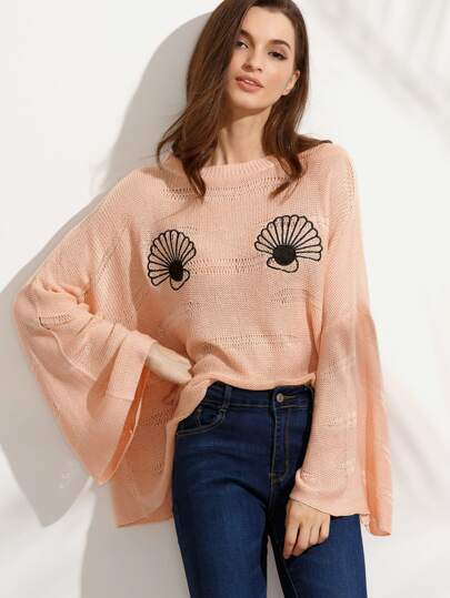 Pink with Black Scallop Crew Neck Bell Sleeve Sweater