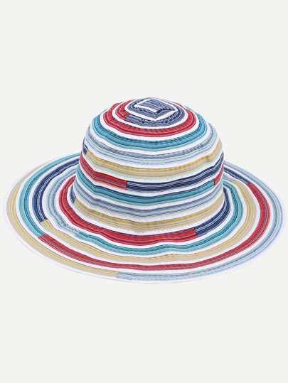 Multicolor Stripe Large Brimmed Beach Hat