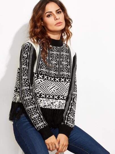 Negro y blanco borla Hem de manga larga suéter