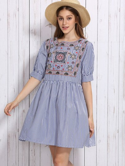 Blue Vertical Striped Embroidered High Waist Dress