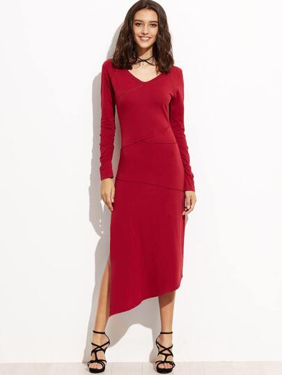 Burgundy Patchwork Split Side Asymmetric Dress